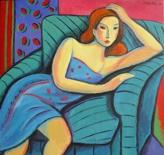 Chica con sofa de rayas 70x70-
