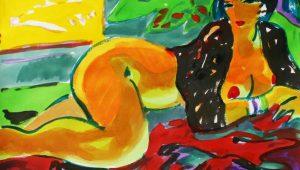 Manel Anoro. Dona Gatosa/ Acuarela y acrílico sobre papel, 82x46 cm