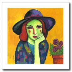 Chica con sombrero lila