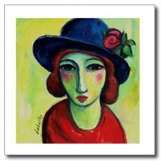 Mujer con sombrero azul