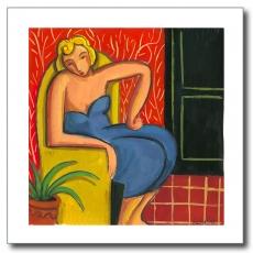 Rubia en el sofá amarillo
