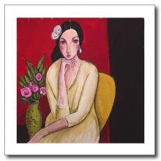 Mujer con vestido ocre