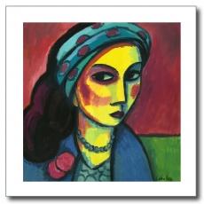 Mujer con pañuelo azul