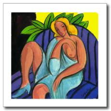 Mujer en el sofá lila