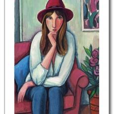 Mujer con sombrero granate