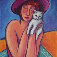 Mujer con gato blanco