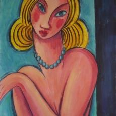 Rubia con collar azul