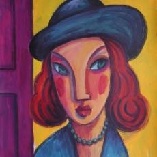 Woman with blue hat