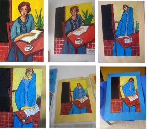 Mujer con libro y cafá