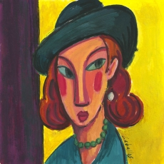 Mujer con sombrero gris